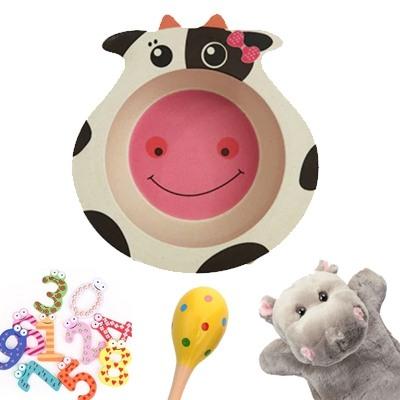 Бамбукова чинийка Крава и играчки 1